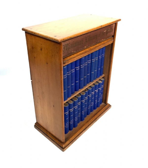 Antique Miniature Library of The Poets in Original Wooden Tambour Bookcase c1880